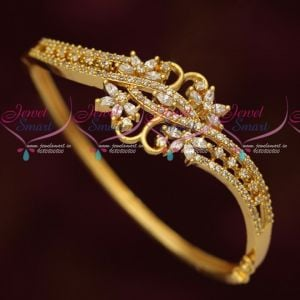 AD White Stones Beautiful Design Gold Plated Imitation Kada Latest Jewellery Collections