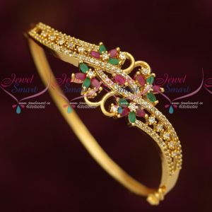 Multi Colour Stones Beautiful Design Gold Plated Imitation Kada Latest Jewellery Collections