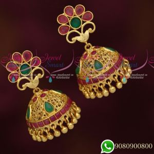 South Indian Gold Covering Jhumka Earrings Ruby Emerald Stones