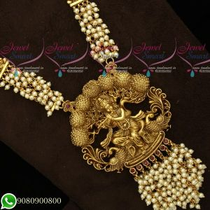 Gold Plated Temple Jewellery Antique Matte Pearl Haram Traditional Designs