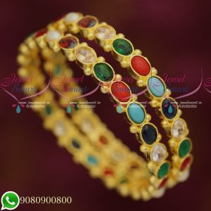Navratna Colour AD Stone Light Gold Plated Bangles Traditional Jewellery Designs