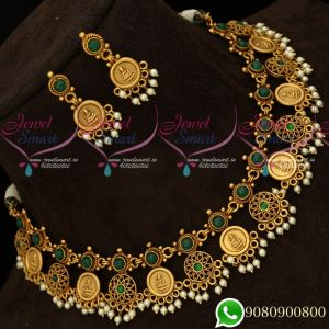 Green Stones Temple Coin Laxmi Necklace Set Matte Antique Trendy Designs