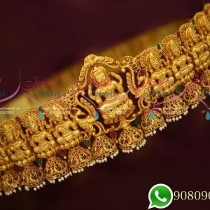 Bridal Grand Temple Jewellery Red Green Gold Plated Vaddanam Gheru Reddish Yellow Colour
