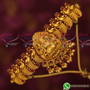 Ruby Bajuband Designs Peacock Beautiful Look Gold Plated Temple Bridal Jewellery