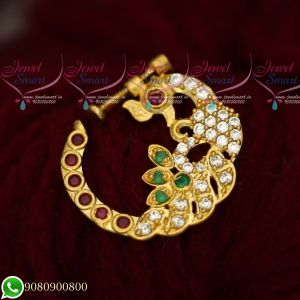 Peacock Design Nose Ring Online American Diamond Stones Non Piercing Screw Lock
