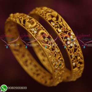 Reddish Gold Plated Jewellery Floral Matte Design Bangles New Collections