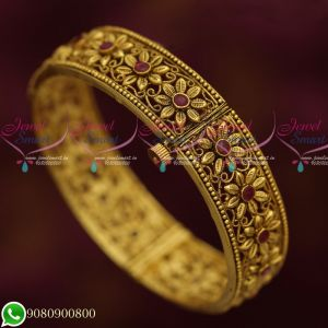 Antique Gold Plated Jewellery Floral Design Bangles New Collections Screw Open Latest