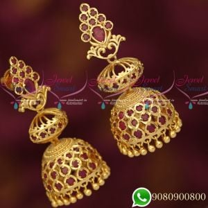 Gold Plated Ruby Long Size Layer Jhumka Earrings Designs New Imitation Collections