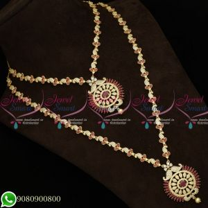 Gold Plated Jewellery Necklace Haram Combo Designs AD Stones Matching Bridal Set