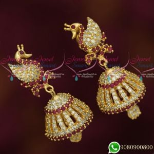 Peacock Design Jhumkas Latest Gold Plated Ruby AD Stones Jewellery Jimikky Screwback Kammal Online