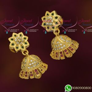 New Design Jhumkas Gold Plated Multi AD Stones Jewellery Jimikky Screwback Kammal Online
