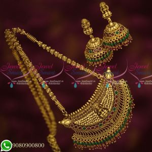 Temple Jewellery Antique Gold Plated Long Chain Traditional Crystal Drops Pendant Jhumka Earrings Online