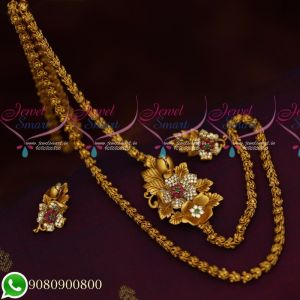 Mugappu Chain Ear Studs Designs Floral Jewelry Collections Matte Gold Plated Latest