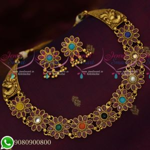 Navratna Stones Antique Gold Plated Peacock Mugappu Floral Design Necklace Set