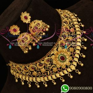 Choker Necklace Floral Design One Gram Gold Plated Latest Bridal Jewellery Collections