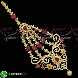 Side Passa Maang Tikka Designs Traditional Jewellery AD Stones Collection