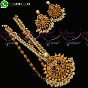 Temple Jewellery Nagalakshmi Design Pendant Pearl Mala Matching Earrings Traditional Collections