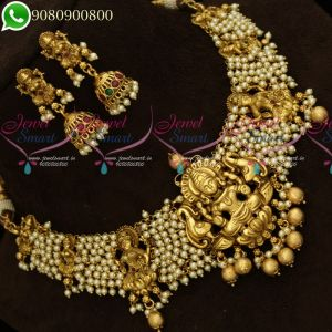Temple Jewellery Nagas Design Necklace Pearl Beads Danglers Traditional Collections