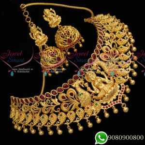 Choker Necklace Temple Jewellery Design One Gram Gold Plated Latest Traditional Collections