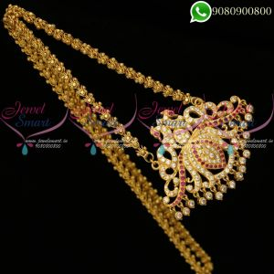 South Indian Jewellery Chain Stone Pendant Gold Plated