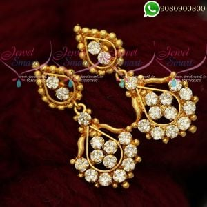 Earrings Online White Stones Jewellery Matching Designs