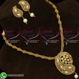 Pendant Set Pearl Antique Gold Plated Twisted Chain Mango Design