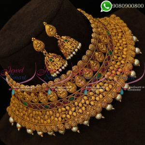 Temple Jewellery Broad Wedding Choker Necklace