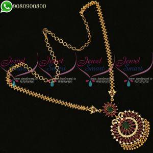 Chain Pendant Set Gold Design Dollar Traditional Imitation South Indian Jewellery