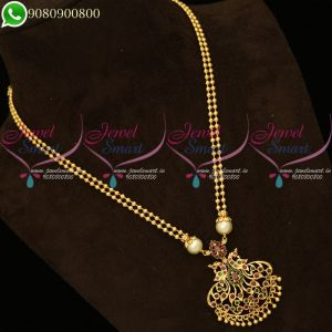 Beads Chain Pendant Peacock Traditional South Indian Jewellery