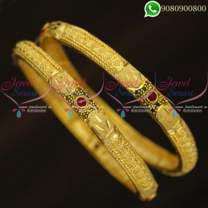 Forming Gold Bangles 2 Pieces New Design Imitation Jewellery Online