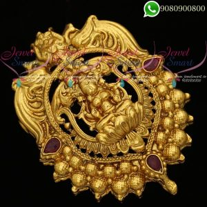 Temple Jewellery Antique Gold Plated Embroidery Pendant