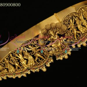 Temple Jewellery Lord Krishna Design Vaddanam Bridal Gold Design