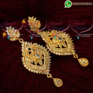 Gold Covering White Stone Earrings South Indian Screwback Imitation