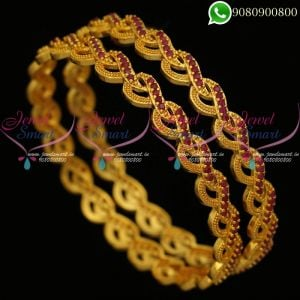 Gold Plated Bangles Stylish Design Artificial Jewellery Collections