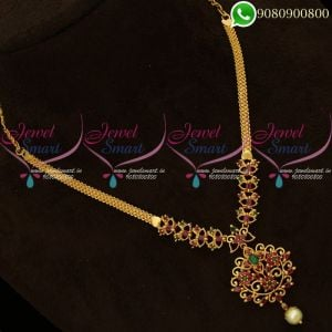 Gold Plated Jewellery South Indian AD Stones Studded Necklace Online