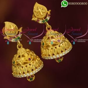 One Gram Gold Jhumki Multi Colour Stones Traditional Jewellery Online