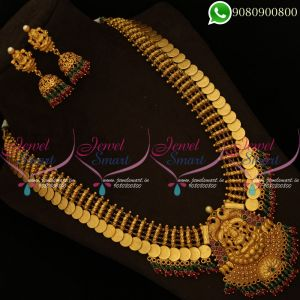 Temple Jewellery Gold Finish Long Necklace Haram Matte Reddish Plated