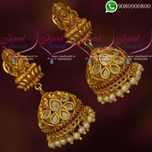Temple Jewellery Jhumka Earrings Laxmi God Design Traditional Online