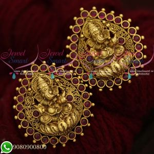 Temple Jewellery Lord Ganesh Design Antique Gold Plated Big Size Ear Studs