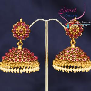 South_Indian_Fashion_Traditional_Kempu_Temple_Stones_Jhumka_Earrings