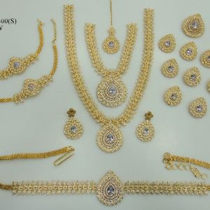ADBRL2300GPW American Diamond Grand Full Bridal Jewellery Set Buy Online
