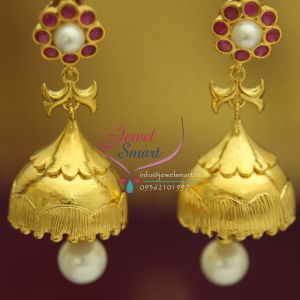 J1546 Ruby Pearl Drops Gold Plated Exclusive Real
