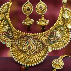 NL3492 Antique Broad Handmade Choker Grand Necklace Wedding Indian