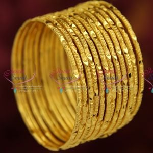 B3737X 2.10 Size Gold Plated 12 Pieces Bangles Set Party ...
