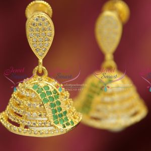 gold-plated-american-diamond-ruby-emerald-artificial-jewellery-online-store-jhumka-earrings