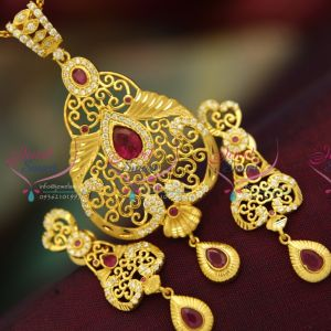 gold-formed-cz-ruby-stones-real-look-fancy-stylish-elegant-pendant-earrings-fashion-jewellery-online