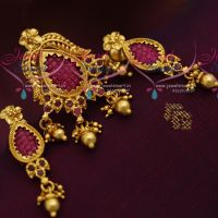 Jewelsmart indian traditional gold designs plated imitation one gram gold plated fashion jewellery pendant screwback aloadofball Images