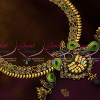 Gold-antique-design-peacock-meenakari-green-blue-fashion-jewellery-set-online