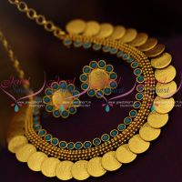blue-colour-coin-short-necklace-kasulaperu-low-price-handmade-traditional-jewellery-designs