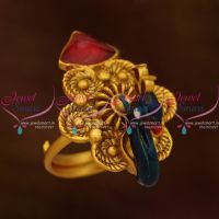 peacock-emboss-red-blue-antique-matte-meenakari-reddish-finish-adjustable-finger-rings-buy-online-latest-designs